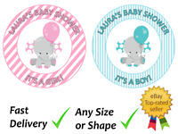 Baby Shower elephant Personalised girl boy cake topper edible icing or Wafer