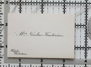 Antik Calling Card Mrs.Nicholas Kasterine Worples Westerham