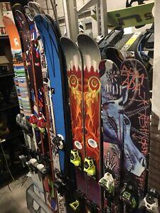 Super Fat Powder Skis + Bindings Volkl 156 Kenja, 163 aura, 172, 181, 188CM Head