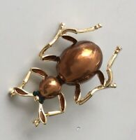 Vintage style ant brooch pin enamel on gold Tone Metal
