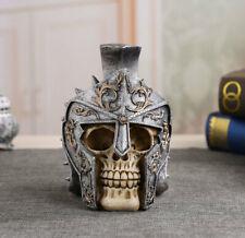 "7""Gladiator Spike Helmet Warrior Hero Skull Figurine Collectible Skeleton Statue"