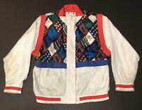 Vintage Sunterra Windbreaker Jacket Med HipHop Color Block Bold Hype Beast F17