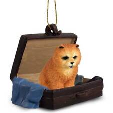 Chow Chow Red Traveling Companion Dog Figurine In Suit Case Ornament