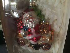 Ornament Glassware Art Studio International Santa in a Car Handcrafted in Poland