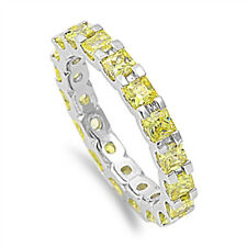 Princess Yellow Topaz Eternity Wedding Band .925 Sterling Silver Ring Size 4-12