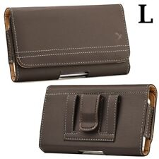 SAMSUNG GALAXY J7 - Horizontal BROWN Leather Pouch Holster Case with Belt Clip