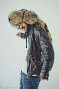 Raccoon Fur Winter Hat with Tail For Men - SEE VIDEO