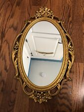 Vintage Syroco Mirror Gold Floral Ornate Oval Shape MCM 60s Decor