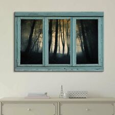 Vintage Teal Window Looking Out Into a Foggy and Dark Forest - Canvas Art- 24x36