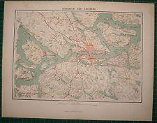 1878 ANTIQUE MAP ~ STOCKHOLM CITY PLAN ENVIRONS DROTTNINGHOLM