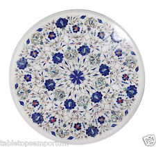 "18""x18"" White Marble Coffee Table Top Lapis Stone Inlay Mosaic Home Decor Arts"