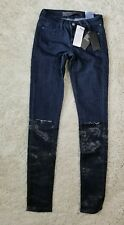 NEW Guess Women's Ultra Skinny Fit Low Rise Knee Cut Jegging Dark Wash Size 23