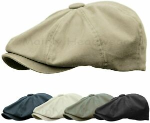 Washed Cotton Newsboy Gatsby Hat Golf Ivy Cap Cabbie Summer Driving Flat S to M