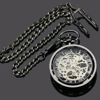Men Women Antique Skeleton Steampunk Windup Mechanical Pocket Watch Gift Trendy