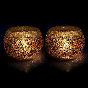 White Beads And Granular Glass Decorated Candle Tealight Holder Set Of 2