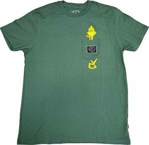 New Men's Billabong The Grinch Short Sleeve Pocket Tee Green Surfer T-Shirt
