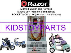"""NEW Razor W15128050101 Scooter On Off Switch """"RED Light SWITCH"""" WITH HARNESS"""