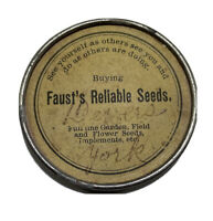 Vintage Faust's Reliable Seeds Advertising Mirror 1880s Agriculture Ad