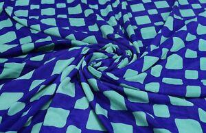 Vintage Pure Soie Sari Bleu Imprimé Loisirs Créatifs Décor Couture Tissu Art