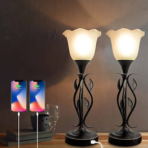 Lamps for Bedrooms Set of 2, 3 Way Dimmable Touch Lamp, Bedside Lamps with USB P