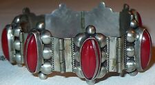BEAUTIFUL VINTAGE SIGNED STERLING SILVER MEXICO BRACELET w/ RED STONES CORAL ?
