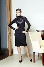 DRESS COCKTAIL PARTY STRETCH LACE ELEGANT MADE IN EUROPE BLACK LONG SLEEVE S