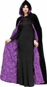 Plum Purple Black Coffin Cape Witch Vampire Womens Costume Accessory NEW