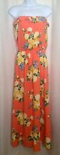 TINI LILI Size Small ORANGE Floral Strapless Ruffle Neck Pleated MAXI Sun DRESS