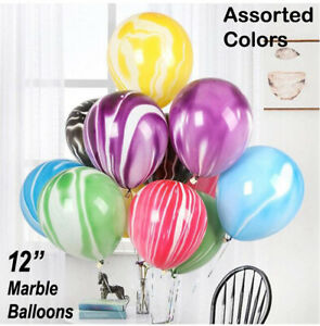 Helium Marble Latex Vibrant Colours Balloons For Birthdays 10/25/50/100pcs UK