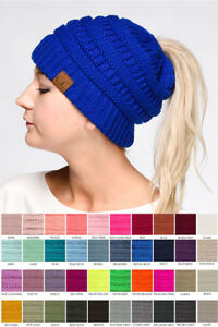 C.C Exclusive Beanie tail Ponytail Messy Bun Solid Ribbed Knit Beanie Hat Cap