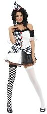 Ladies Sexy Black White Clown Circus Halloween Fancy Dress Costume Outfit 10-14