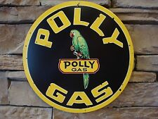 Metal Tin Sign Polly Gas Gasoline Filling Station Parrot Logo