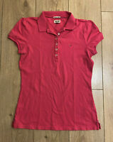 Tommy Hilfiger Women's Polo T Shirt Pink Medium Short Sleeve Cotton Blend Marks