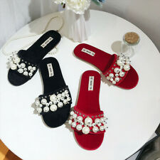 Women's Flat Peep Toe Faux Suede Slippers Pearls Decor Beads Mules Shoes Studded