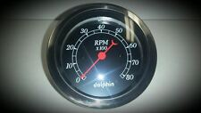 BLACK FACE DOLPHIN 3 3/8 GAUGE TACH TACHOMETER CHEVY, FORD, STREET HOT ROD