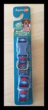 "Aspen Pets medium Dog Collar, Color Bandana Argyle red blue 3/4"" size 14-20"""