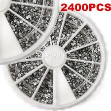 2400 Pcs 3D Nail Art Tips Gem 1.5mm Crystal Glitter Rhinestone Decoration
