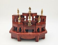 NEW SET 9 MINI TEAK WOOD ALTAR TABLE CARVED THAI AMULET BUDDHA PHRA DOLL JEWELRY