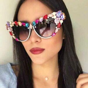 OVERSIZED CAT EYE Sunglasses Rhinestone Crystal Frame Vintage Women Shades 2021