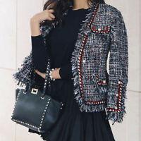 Europe Women's Stylish Retro Tassels Pearl Button Slim Tweed Coat Jacket Outwear
