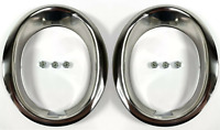 Pair Stainless Steel Exhaust Trim Rings Moldings For 1965-1966 Ford Mustang GT