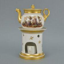 Tisanière théière en porcelaine de Paris peinte de paysage romantique 21 cm