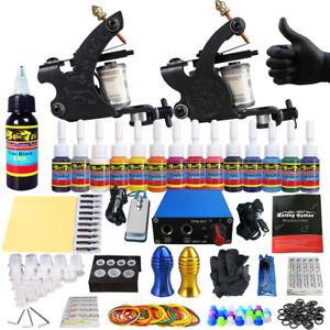 Complete Tattoo Kit 2 Machine Gun 14 Inks Needles Power Supply Tips Grips Set
