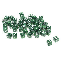 50pcs/lot 12mm D6 Acrylic Dice Toy Pack for RPG MTG Game Accessories Green