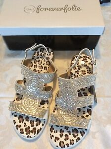 Brand New Pair Of Ladies Sandals Size 6 Animal Print And White
