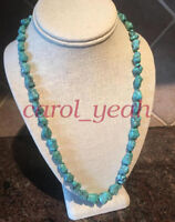 Natural turquoise necklace 22 inches irregular pray lucky