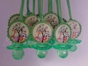 Jungle Safari Animals | 12 Pacifier Necklaces Baby Shower Favors | Boy or Girl