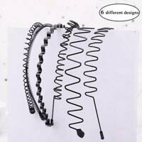 6x Metal Men Women Sports Headband Hair Band Hoop Comb Hairband Wave Headwear#