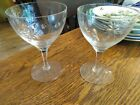 "2 Vintage Fostoria Stardust 4 1/2"" Cut Crystal Wine Glass Goblet 1957-1970"