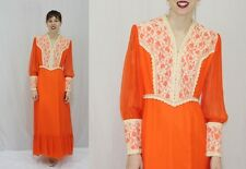 Vintage 70s Orange CHIFFON Cream Crochet LACE Hippie Boho Maxi Wedding Dress~S